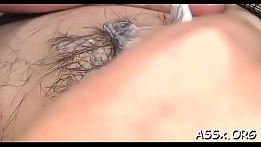 Asian honey gets her butt hole stretched with sex toys