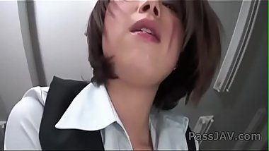 Horny Japanese cutie Kaoru Natsuki  plays with a rubber cock.