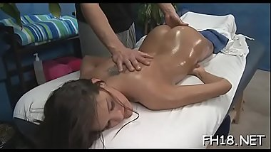 Petite drilled hard by her masseur
