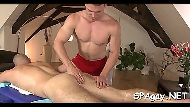 Wild homosexual massage session with raucous anal riding