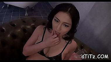 Ravishing asian enjoys wild tits mashing and pussy fingering