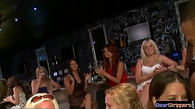 Partying babes play with strippers BBC