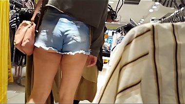 Candid teens shopping shorts hot compilation