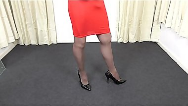 Red Skirt and Silky Pantyhose on Trans