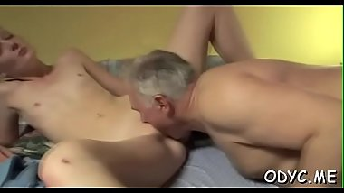 Tiny titted dilettante gets fucked in lots of poses by old guy