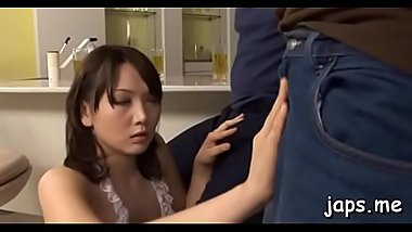 Delicious young slut gives a hot oral-job and titty fuck
