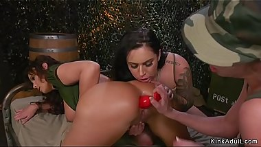 Milf soldier ass whipped and toyed in threesome