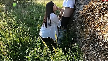 Fucking in the anal in the hay! Cute brunette likes it!