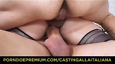 CASTING ALLLA ITALIANA - Newbie schoolgirl Valentina Palermo gets double drilled in threeway