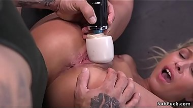 Bent over blonde sucks masters cock