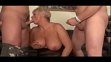 Granny mum Chubby short haired in threesome of young stepson part 2