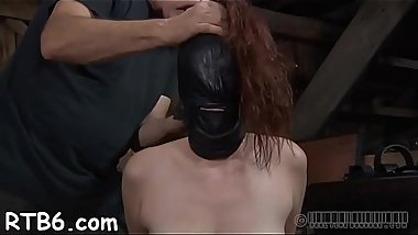 Tied up slave receives lusty gratifying her naughty twat