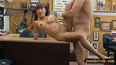 Booby oriental woman nailed by pawn man at the pawnshop