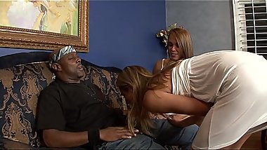 Filthy sluts Haley Sweet and Amanda Blow  enjoy a threesome with black guy take turns getting rammed