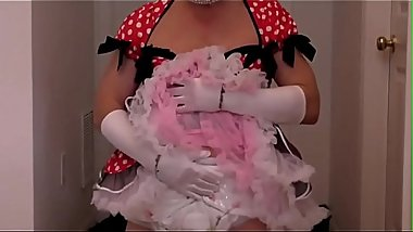 Adultbaby sissy princess in beautiful red dress triple diapered