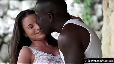 Anita Bellini sucks and analed by a fat black cock outdoors