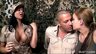 Busty Army Lovers Jasmine Jae &amp_ Abbie Cat Share Huge Dick At Army Base