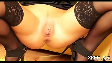 Lustful honey takes a piss and gets fucked hardcore style