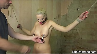 Restrained babe gagged and humiliated