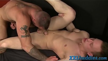Twink sucks massive cock