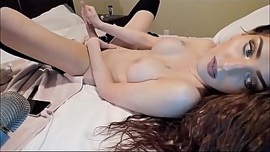 Hot Trans With Great Tits And Eyes - Cumshot On Herself