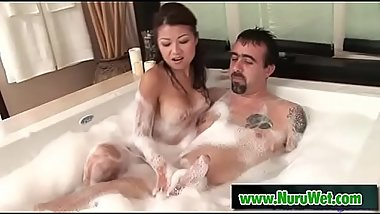 Busty Jackie Lin giving pleasure in the shower