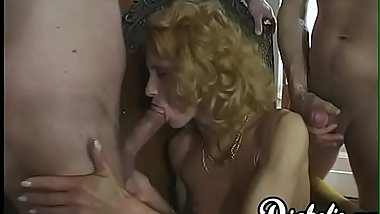 Skinny slut Suzie stretched by three raging dicks DP style