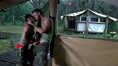 Muscle stud Landon Conrad fucks and manhandles tiny pretty boy Armond Rizzo outdoors